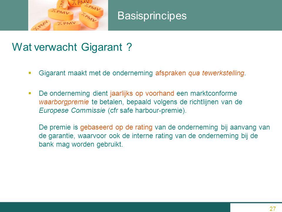 Basisprincipes  Gigarant maakt met de onderneming afspraken qua tewerkstelling.  De onderneming dient jaarlijks op voorhand een marktconforme waarbo