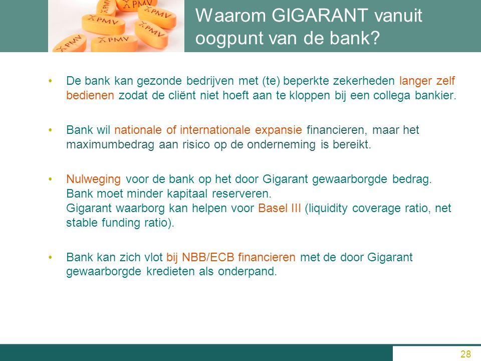 Waarom GIGARANT vanuit oogpunt van de bank? De bank kan gezonde bedrijven met (te) beperkte zekerheden langer zelf bedienen zodat de cliënt niet hoeft
