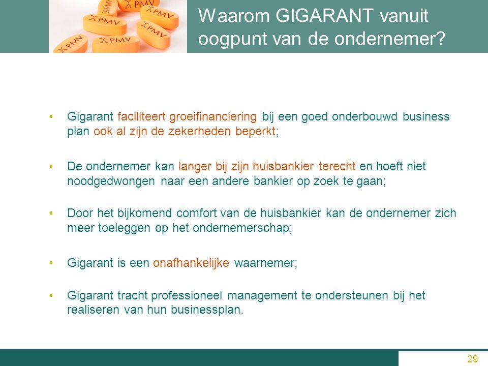 Waarom GIGARANT vanuit oogpunt van de ondernemer? Gigarant faciliteert groeifinanciering bij een goed onderbouwd business plan ook al zijn de zekerhed
