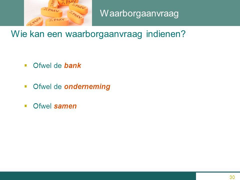 Waarborgaanvraag  Ofwel de bank  Ofwel de onderneming  Ofwel samen Wie kan een waarborgaanvraag indienen? 30