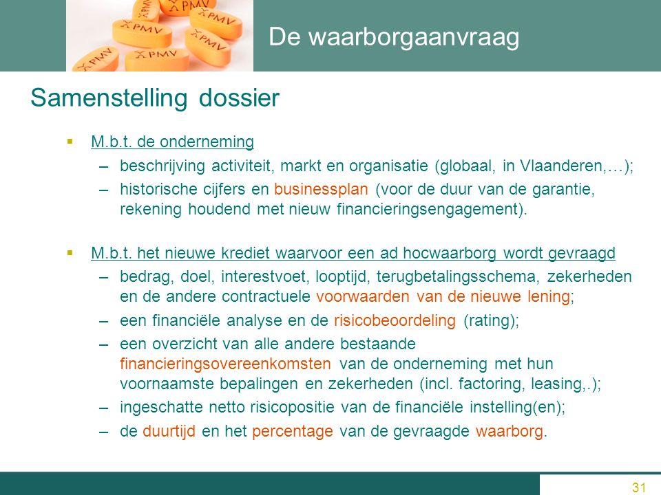 De waarborgaanvraag  M.b.t. de onderneming –beschrijving activiteit, markt en organisatie (globaal, in Vlaanderen,…); –historische cijfers en busines