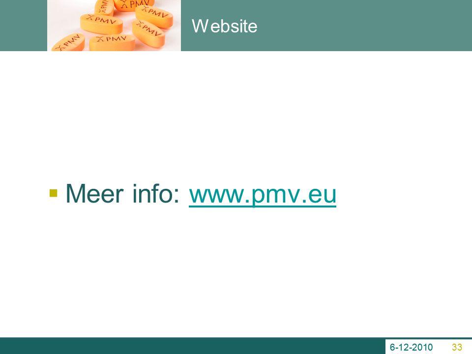 Website  Meer info: www.pmv.euwww.pmv.eu 6-12-2010 33