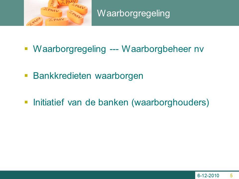 Waarborgregeling  Waarborgregeling --- Waarborgbeheer nv  Bankkredieten waarborgen  Initiatief van de banken (waarborghouders) 6-12-2010 5