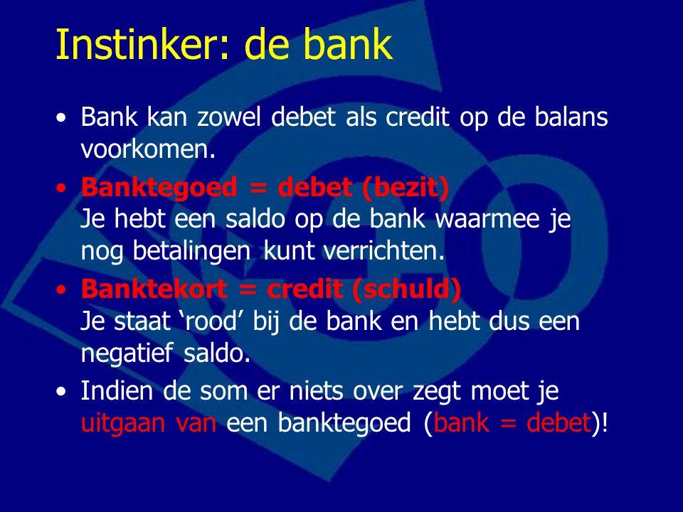 Instinker: de bank Bank kan zowel debet als credit op de balans voorkomen. Banktegoed = debet (bezit) Je hebt een saldo op de bank waarmee je nog beta