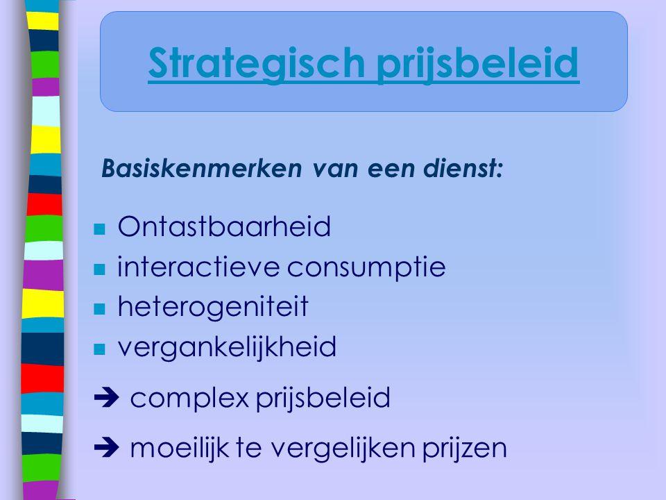 Basiskenmerken van een dienst: n Ontastbaarheid n interactieve consumptie n heterogeniteit n vergankelijkheid  complex prijsbeleid  moeilijk te verg