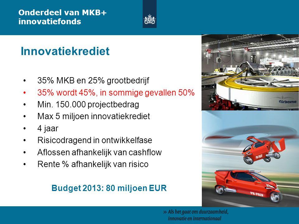 35% MKB en 25% grootbedrijf 35% wordt 45%, in sommige gevallen 50% Min. 150.000 projectbedrag Max 5 miljoen innovatiekrediet 4 jaar Risicodragend in o