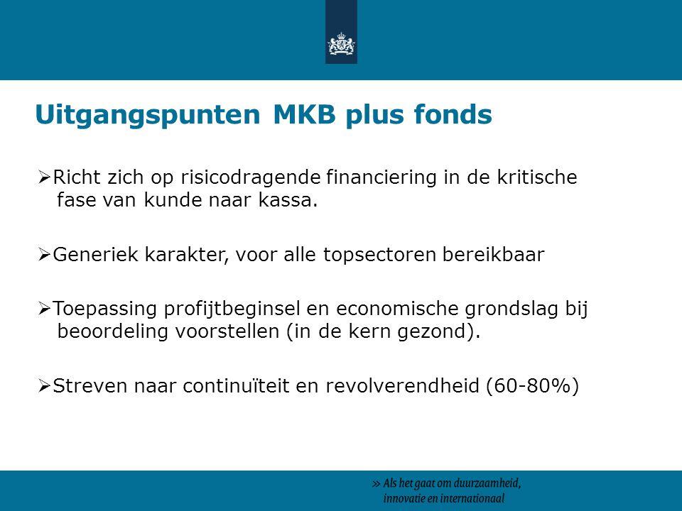 Uitgangspunten MKB plus fonds  Richt zich op risicodragende financiering in de kritische fase van kunde naar kassa.  Generiek karakter, voor alle to