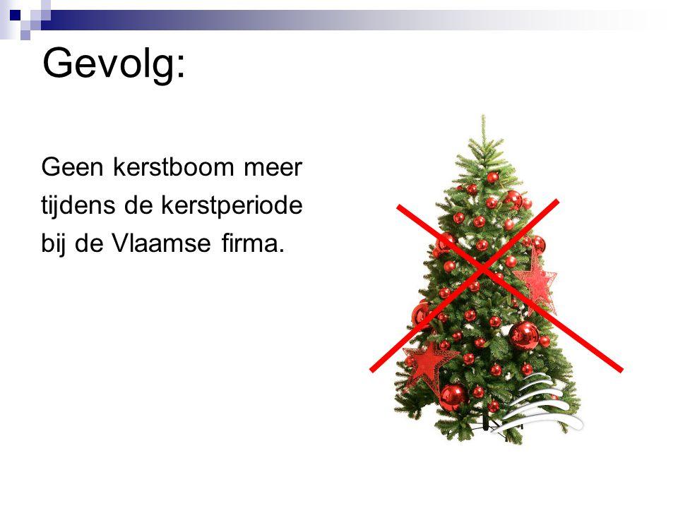Gevolg: Geen kerstboom meer tijdens de kerstperiode bij de Vlaamse firma.