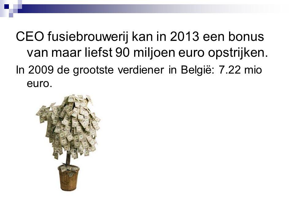 CEO fusiebrouwerij kan in 2013 een bonus van maar liefst 90 miljoen euro opstrijken. In 2009 de grootste verdiener in België: 7.22 mio euro.