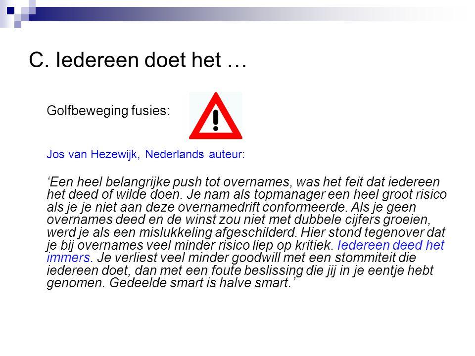 C. Iedereen doet het … Golfbeweging fusies: Jos van Hezewijk, Nederlands auteur: 'Een heel belangrijke push tot overnames, was het feit dat iedereen h