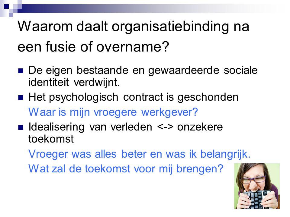 Waarom daalt organisatiebinding na een fusie of overname? De eigen bestaande en gewaardeerde sociale identiteit verdwijnt. Het psychologisch contract