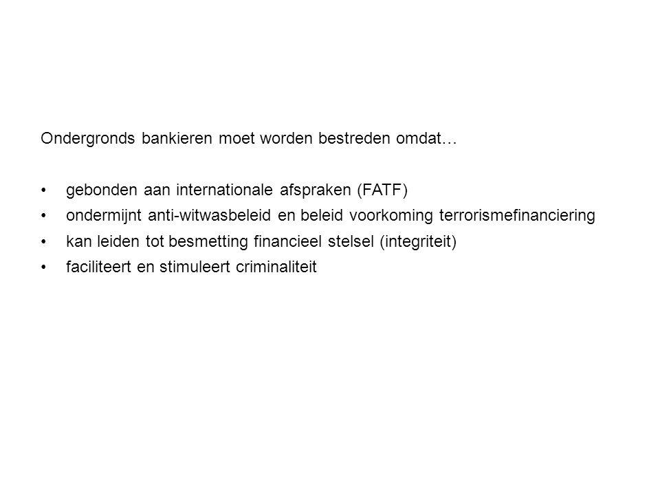 Ondergronds bankieren moet worden bestreden omdat… gebonden aan internationale afspraken (FATF) ondermijnt anti-witwasbeleid en beleid voorkoming terr