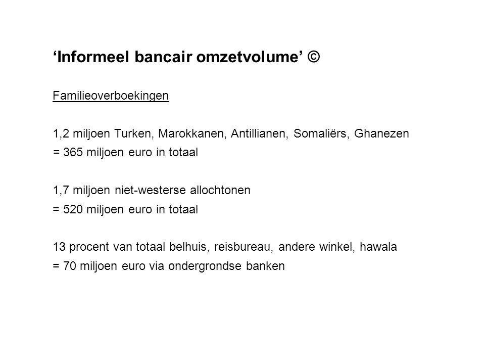 'Informeel bancair omzetvolume' © Totale overboekingen via ondergrondse banken vanuit Nederland Familieoverboekingen 70 miljoen Illegalen ………….