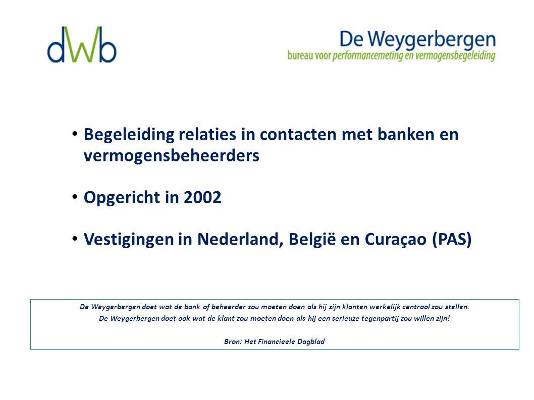 Begeleiding relaties in contacten met banken en vermogensbeheerders Opgericht in 2002 Vestigingen in Nederland, België en Curaçao (PAS) De Weygerbergen doet wat de bank of beheerder zou moeten doen als hij zijn klanten werkelijk centraal zou stellen.