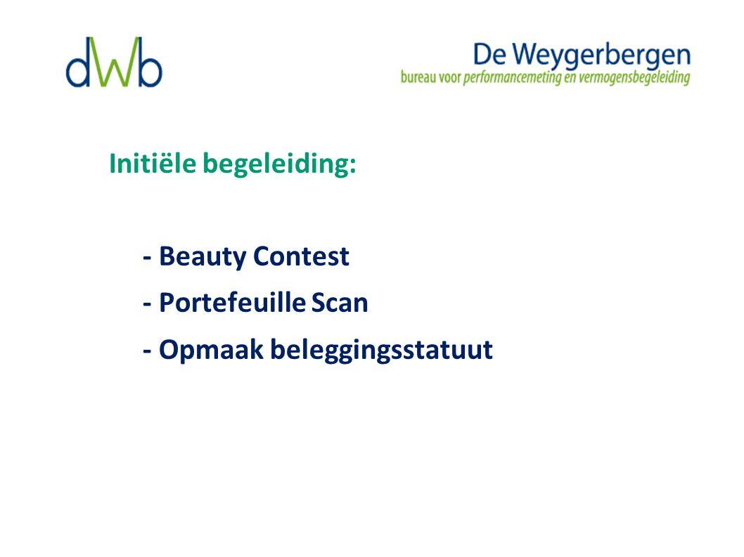 Initiële begeleiding: - Beauty Contest - Portefeuille Scan - Opmaak beleggingsstatuut