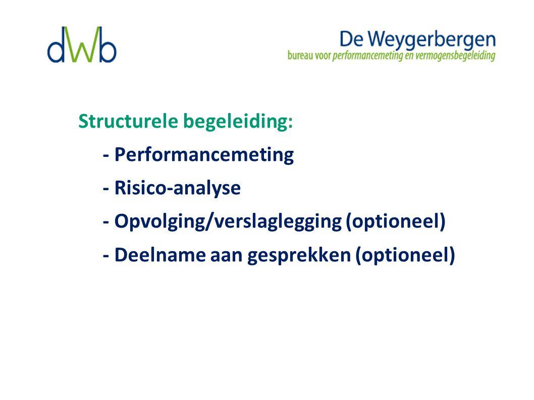 Structurele begeleiding: - Performancemeting - Risico-analyse - Opvolging/verslaglegging (optioneel) - Deelname aan gesprekken (optioneel)