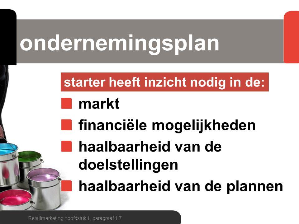 ondernemingsplan markt financiële mogelijkheden haalbaarheid van de doelstellingen haalbaarheid van de plannen Retailmarketing hoofdstuk 1, paragraaf