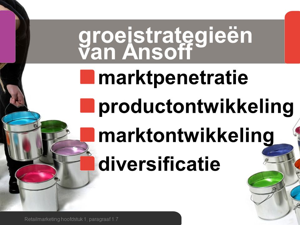 groeimatrix ANSOFF Retailmarketing hoofdstuk 1, paragraaf 1.7 markt- penetratie markt- ontwikkeling product- ontwikkeling diversificatie nieuwbestaand klantengroep winkel- formule bestaand nieuw