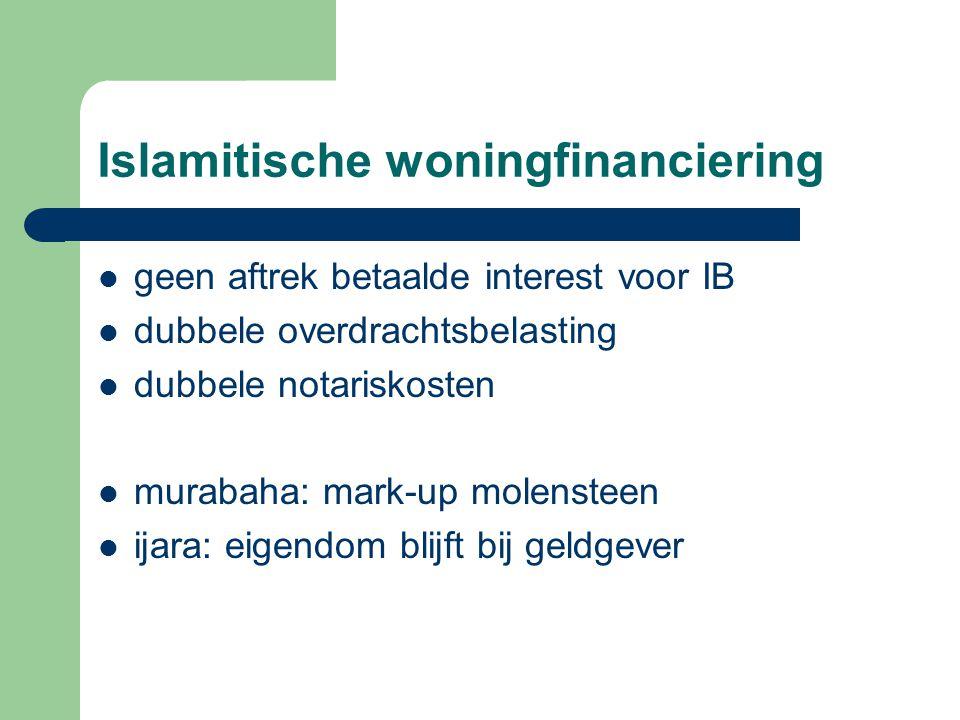 Islamitische woningfinanciering geen aftrek betaalde interest voor IB dubbele overdrachtsbelasting dubbele notariskosten murabaha: mark-up molensteen ijara: eigendom blijft bij geldgever