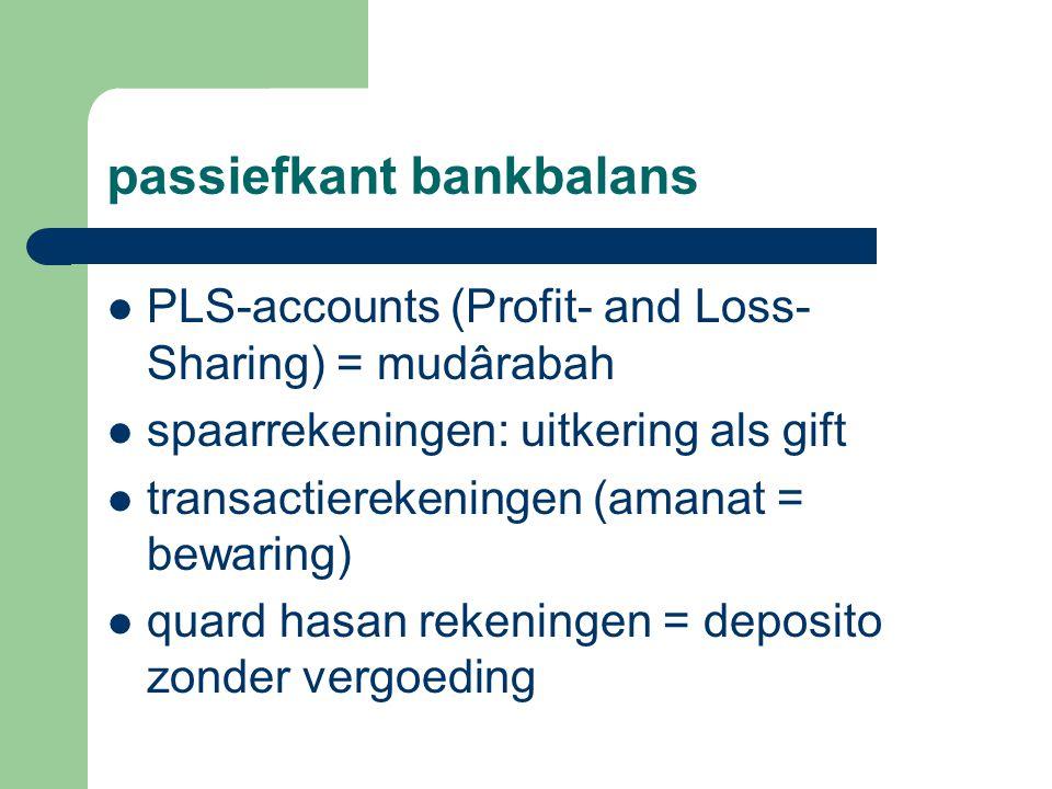 passiefkant bankbalans PLS-accounts (Profit- and Loss- Sharing) = mudârabah spaarrekeningen: uitkering als gift transactierekeningen (amanat = bewaring) quard hasan rekeningen = deposito zonder vergoeding