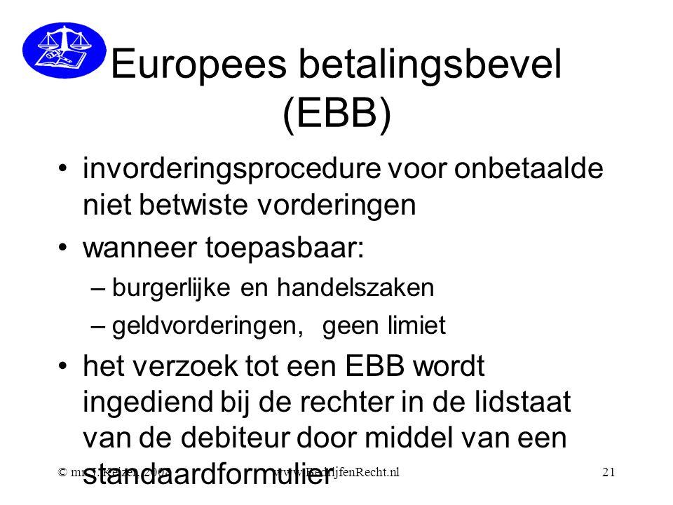 Europees betalingsbevel (EBB) invorderingsprocedure voor onbetaalde niet betwiste vorderingen wanneer toepasbaar: –burgerlijke en handelszaken –geldvo
