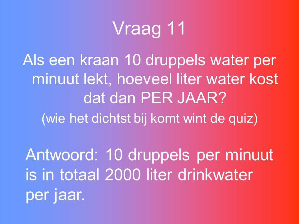 Vraag 11 Als een kraan 10 druppels water per minuut lekt, hoeveel liter water kost dat dan PER JAAR.