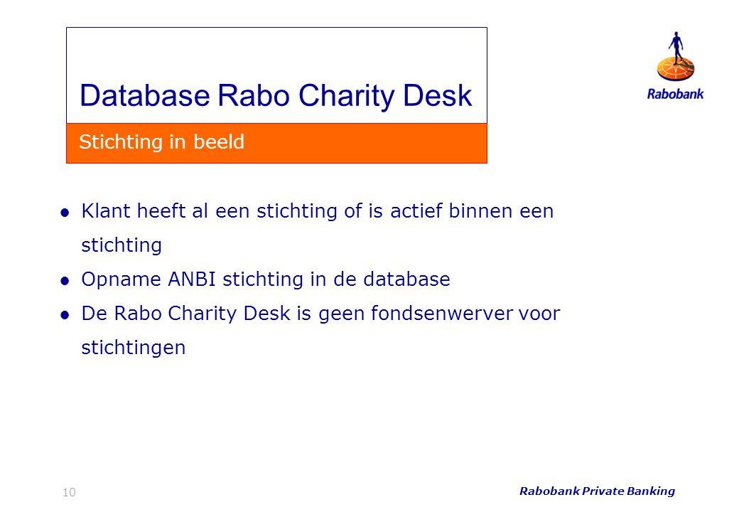 Rabobank Private Banking 10 ●Klant heeft al een stichting of is actief binnen een stichting ●Opname ANBI stichting in de database ●De Rabo Charity Des