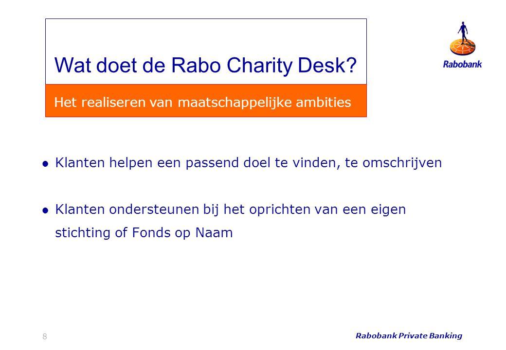 ●Klanten helpen een passend doel te vinden, te omschrijven ●Klanten ondersteunen bij het oprichten van een eigen stichting of Fonds op Naam Rabobank P