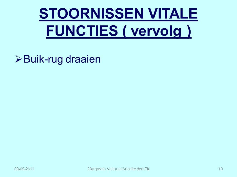 STOORNISSEN VITALE FUNCTIES ( vervolg )  Buik-rug draaien Margreeth Velthuis/Anneke den Elt1009-09-2011
