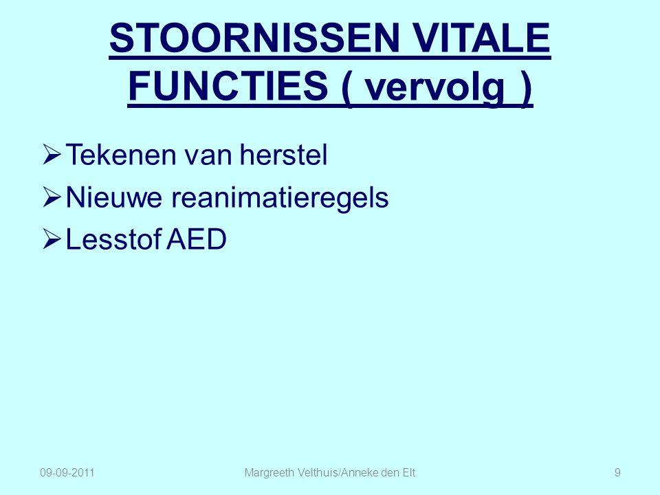 STOORNISSEN VITALE FUNCTIES ( vervolg )  Tekenen van herstel  Nieuwe reanimatieregels  Lesstof AED 09-09-2011Margreeth Velthuis/Anneke den Elt9