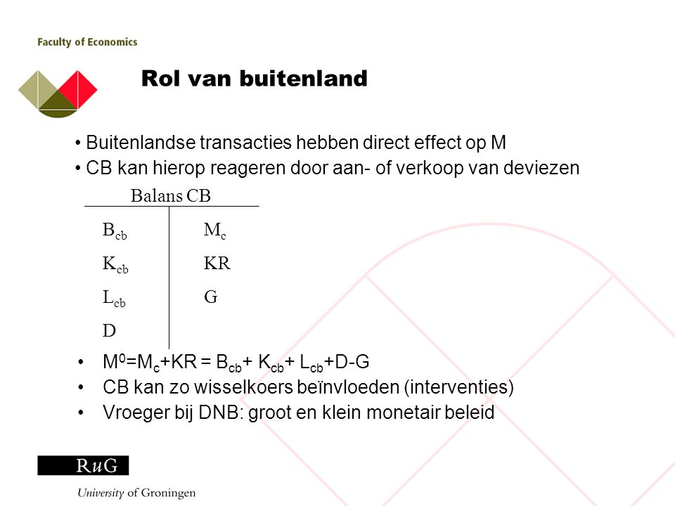 Rol van buitenland M 0 =M c +KR = B cb + K cb + L cb +D-G CB kan zo wisselkoers beïnvloeden (interventies) Vroeger bij DNB: groot en klein monetair be