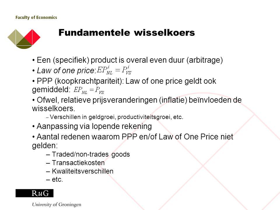 Fundamentele wisselkoers Een (specifiek) product is overal even duur (arbitrage) Law of one price: PPP (koopkrachtpariteit): Law of one price geldt oo