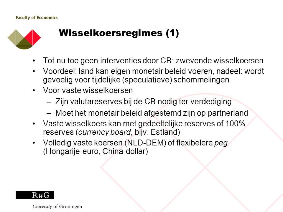 Wisselkoersregimes (1) Tot nu toe geen interventies door CB: zwevende wisselkoersen Voordeel: land kan eigen monetair beleid voeren, nadeel: wordt gev