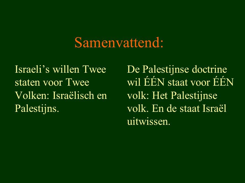 Samenvattend: Israeli's willen Twee staten voor Twee Volken: Israëlisch en Palestijns. De Palestijnse doctrine wil ÉÉN staat voor ÉÉN volk: Het Palest