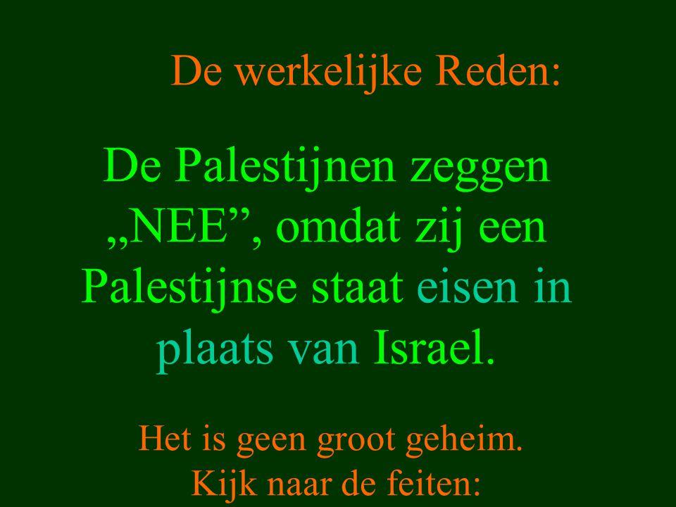 """De Palestijnen zeggen """"NEE"""", omdat zij een Palestijnse staat eisen in plaats van Israel. Het is geen groot geheim. Kijk naar de feiten: De werkelijke"""