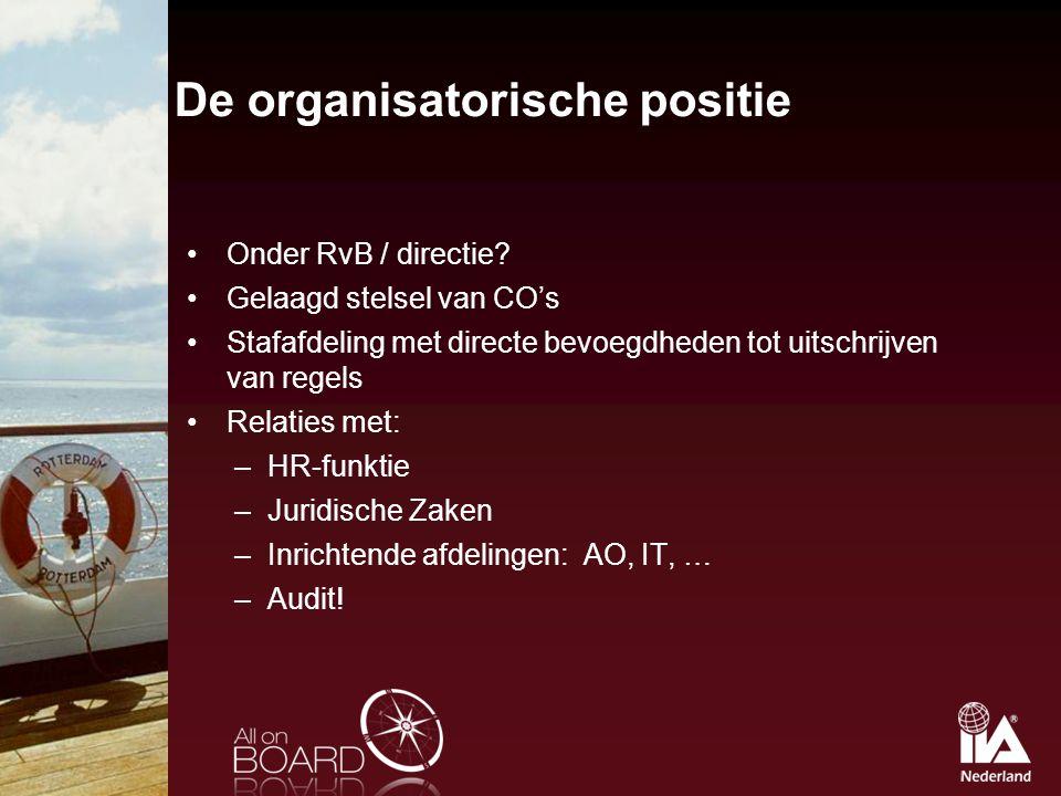 De organisatorische positie Onder RvB / directie? Gelaagd stelsel van CO's Stafafdeling met directe bevoegdheden tot uitschrijven van regels Relaties