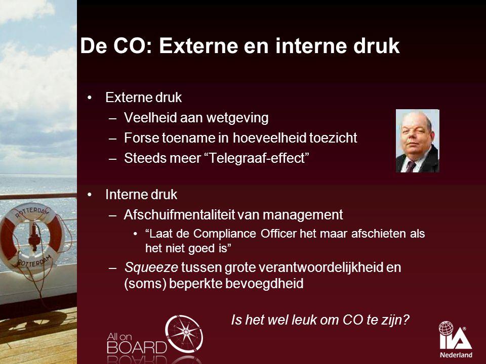 "De CO: Externe en interne druk Externe druk –Veelheid aan wetgeving –Forse toename in hoeveelheid toezicht –Steeds meer ""Telegraaf-effect"" Interne dru"