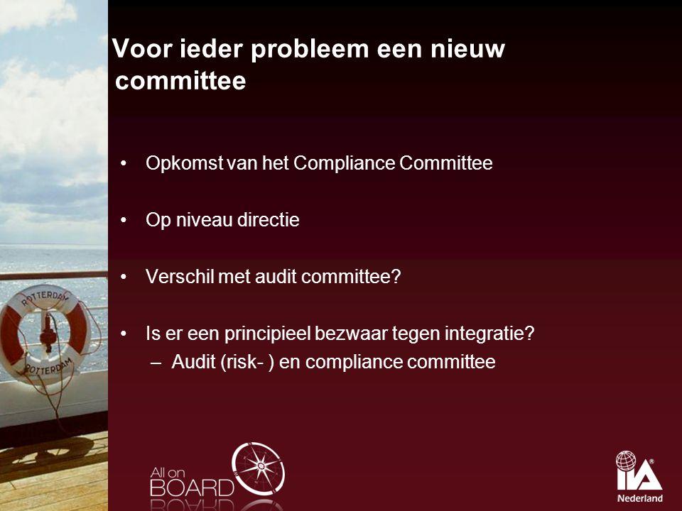Voor ieder probleem een nieuw committee Opkomst van het Compliance Committee Op niveau directie Verschil met audit committee? Is er een principieel be