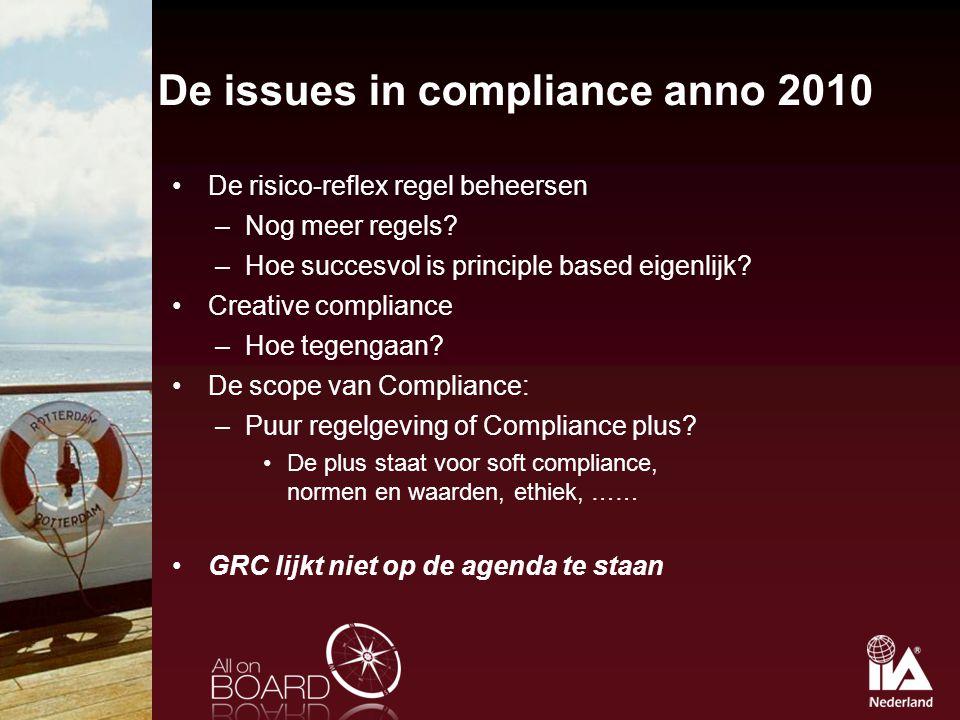De issues in compliance anno 2010 De risico-reflex regel beheersen –Nog meer regels? –Hoe succesvol is principle based eigenlijk? Creative compliance
