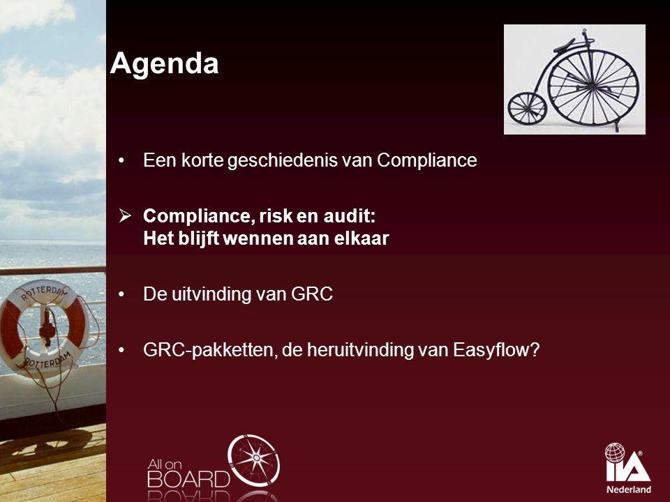 Agenda Een korte geschiedenis van Compliance  Compliance, risk en audit: Het blijft wennen aan elkaar De uitvinding van GRC GRC-pakketten, de heruitv