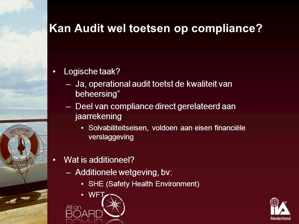 """Kan Audit wel toetsen op compliance? Logische taak? –Ja, operational audit toetst de kwaliteit van beheersing"""" –Deel van compliance direct gerelateerd"""