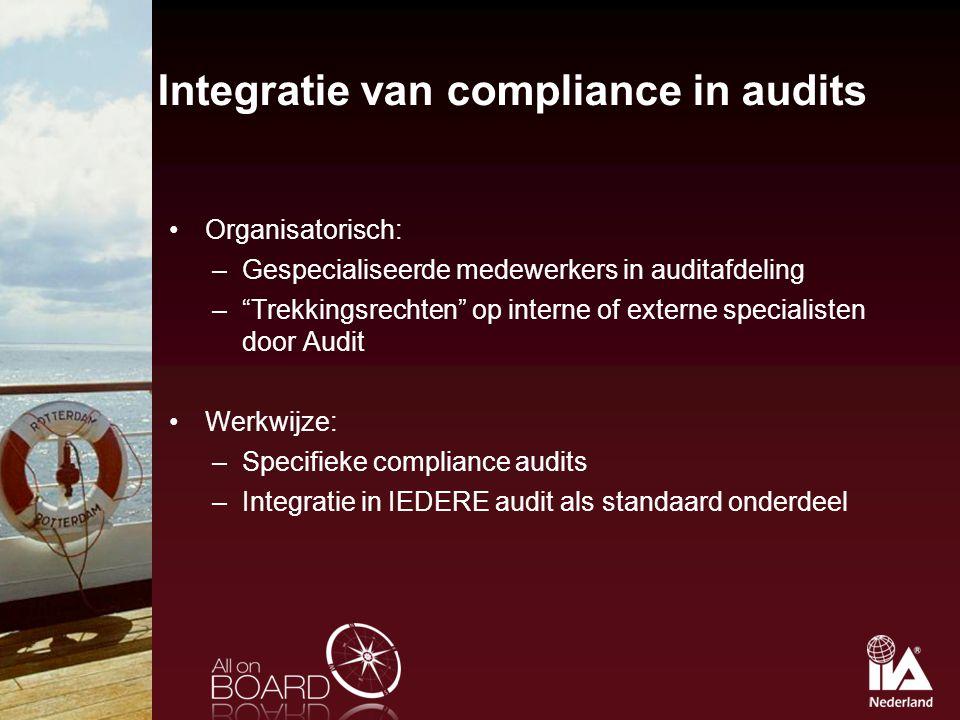 """Integratie van compliance in audits Organisatorisch: –Gespecialiseerde medewerkers in auditafdeling –""""Trekkingsrechten"""" op interne of externe speciali"""