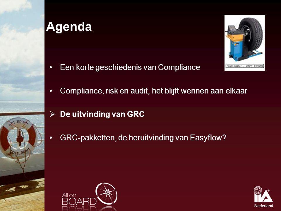 Agenda Een korte geschiedenis van Compliance Compliance, risk en audit, het blijft wennen aan elkaar  De uitvinding van GRC GRC-pakketten, de heruitv