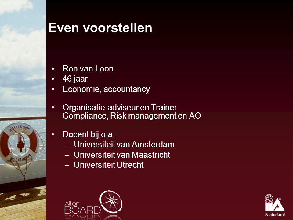 Even voorstellen Ron van Loon 46 jaar Economie, accountancy Organisatie-adviseur en Trainer Compliance, Risk management en AO Docent bij o.a.: –Univer