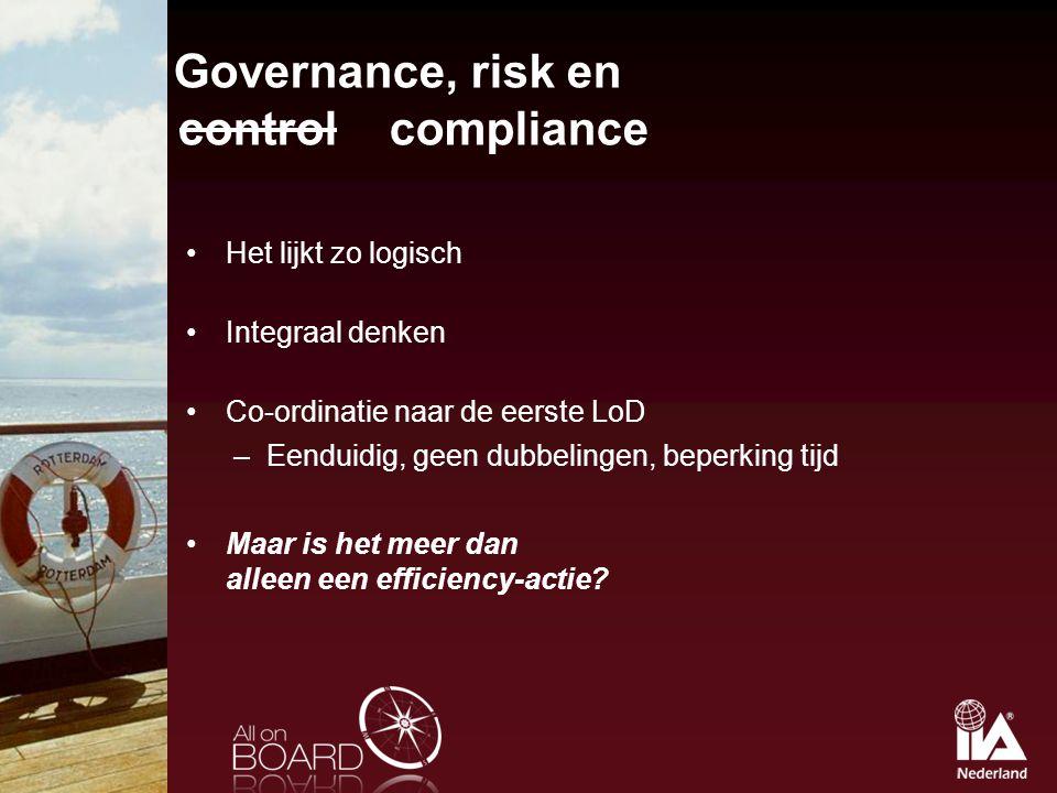 Governance, risk en control compliance Het lijkt zo logisch Integraal denken Co-ordinatie naar de eerste LoD –Eenduidig, geen dubbelingen, beperking t