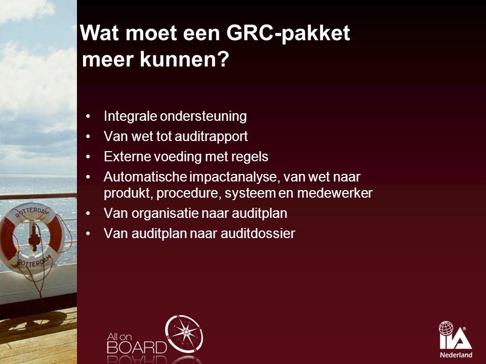 Wat moet een GRC-pakket meer kunnen? Integrale ondersteuning Van wet tot auditrapport Externe voeding met regels Automatische impactanalyse, van wet n