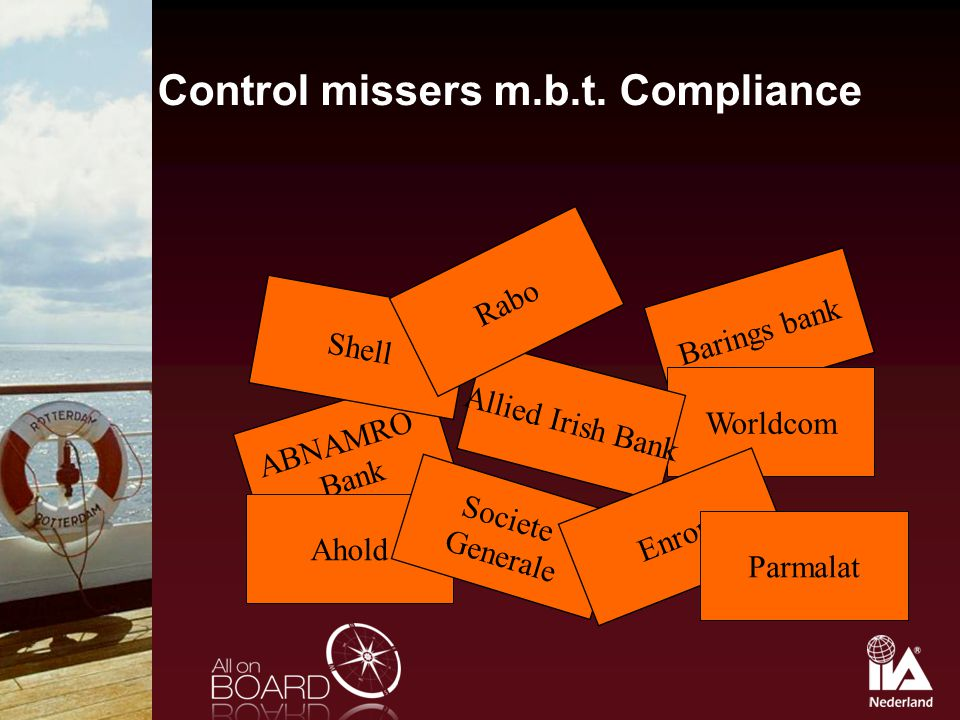Control missers m.b.t. Compliance Barings bank ABNAMRO Bank Worldcom Allied Irish Bank Ahold Societe Generale Enron Parmalat Shell Rabo