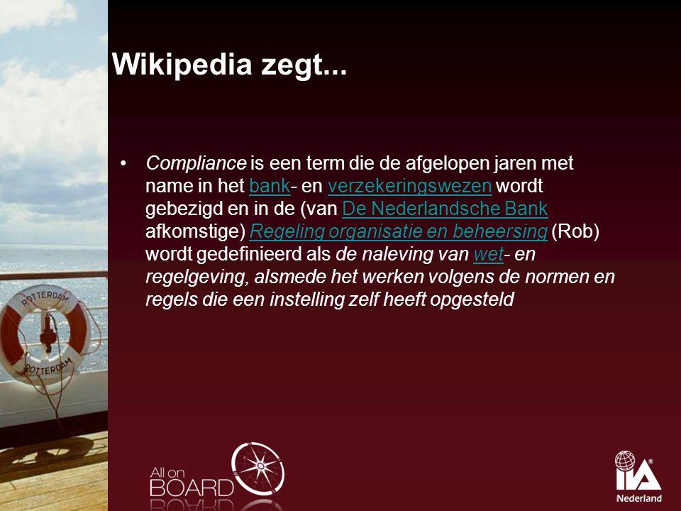 Wikipedia zegt... Compliance is een term die de afgelopen jaren met name in het bank- en verzekeringswezen wordt gebezigd en in de (van De Nederlandsc