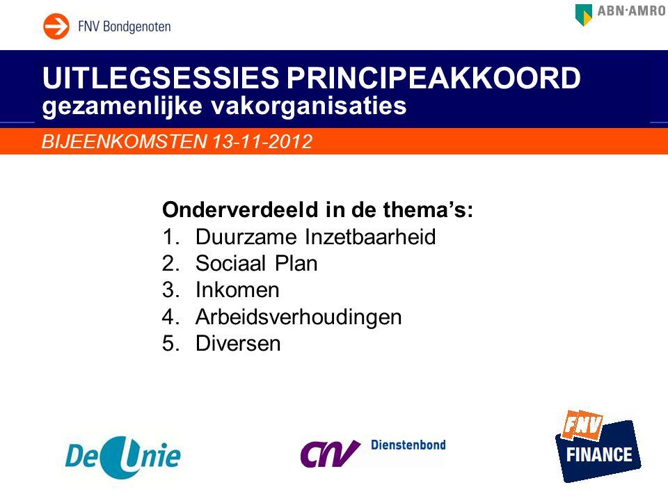 UITLEGSESSIES PRINCIPEAKKOORD gezamenlijke vakorganisaties BIJEENKOMSTEN 13-11-2012 Onderverdeeld in de thema's: 1.Duurzame Inzetbaarheid 2.Sociaal Pl