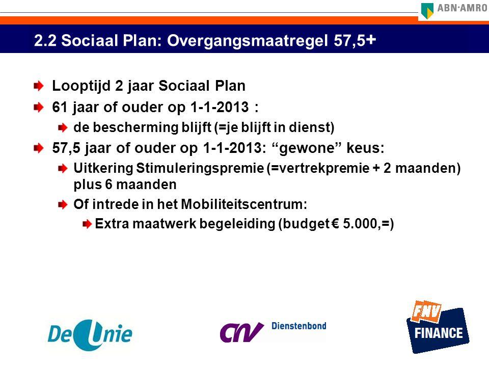2.2 Sociaal Plan: Overgangsmaatregel 57,5 + Looptijd 2 jaar Sociaal Plan 61 jaar of ouder op 1-1-2013 : de bescherming blijft (=je blijft in dienst) 5